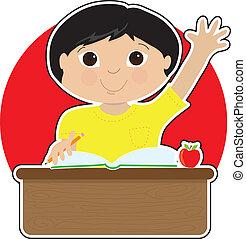 menino, pequeno, asiático, escola