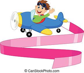 menino, pequeno, b, operando, avião