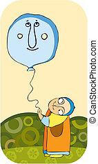 menino, pequeno, balloon