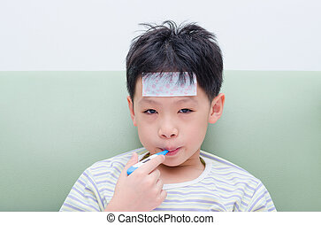 menino, pequeno, boca, doente, termômetro