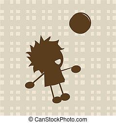 menino, pequeno, bola, tocando