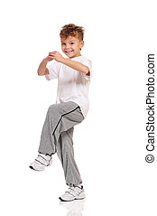 menino, pequeno, branca, dançar