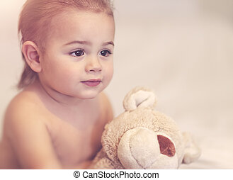 menino, pequeno, brinquedo, macio