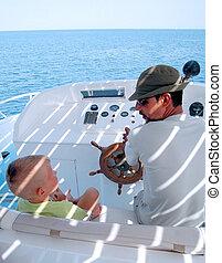 menino, pequeno, capitão, bote