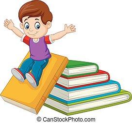 menino, pequeno, caricatura, grande, livros, tocando