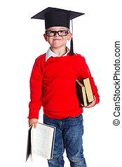 menino, pequeno, chapéu, acadêmico