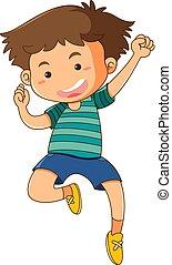 menino, pequeno, cima, pular, fundo, branca