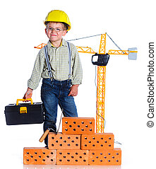 menino, pequeno, construtor