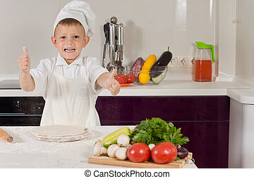 Menino, pequeno, Cozinhar, cima, polegares, excitado,  pizza