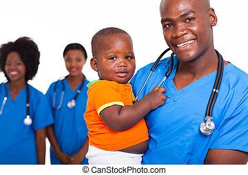 menino, pequeno, doutor, americano, pediátrico, macho africano