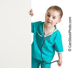 menino, pequeno, doutor, paleto, isolado, atrás de, em branco, bandeira