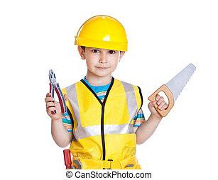 menino, pequeno, ferramentas, construtor, uniforme