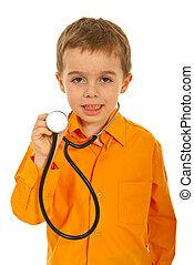 menino, pequeno, futuro, doutor