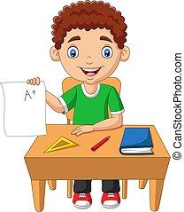 menino, pequeno, grau, papel, positivo, segurando, caricatura