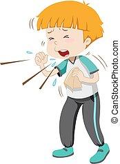 menino, pequeno, gripe, tendo