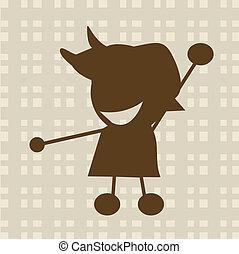 menino, pequeno, ilustração