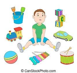 menino, pequeno, ilustração, toys., vetorial, caricatura