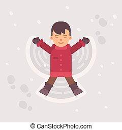 menino, pequeno, inverno, apartamento, neve, ilustração, angel., fazer, criança