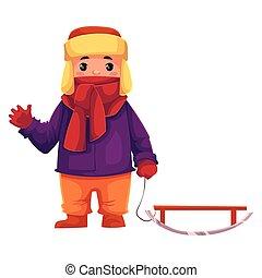 menino, pequeno, inverno, trenó, puxando, roupas