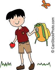 menino, pequeno, ir, escola, costas