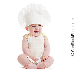 menino, pequeno, isolado, cozinheiro, chapéu, feliz