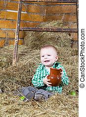 menino, pequeno, jarro, segar, senta-se, leite