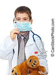 menino, pequeno, jogos, doutor
