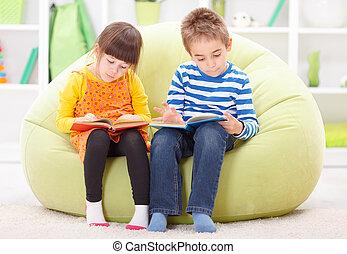 menino, pequeno, leitura, menina