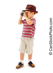 menino, pequeno, levando, chapéu, fotografias