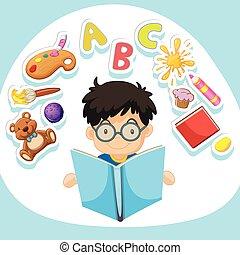 menino, pequeno, livro leitura