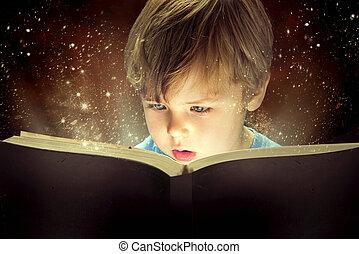 menino, pequeno, livro, magia