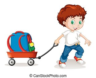 menino, pequeno, mochila, aquilo, carreta, puxando