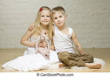 Menino, pequeno, par,  -, jovem,  sphynx, gatinho, sorrindo, menina