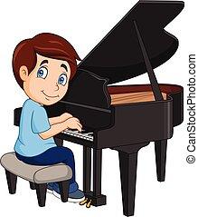 menino, pequeno, piano jogo, caricatura