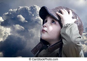 menino, pequeno, pilot., vindima, tornando-se, hat., bebê, ...