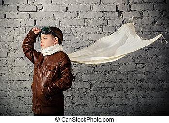 menino, pequeno, piloto, tornando-se, sonhar