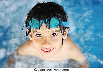 menino, pequeno, piscina, natação