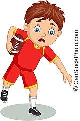 menino, pequeno, rúgbi, caricatura, tocando