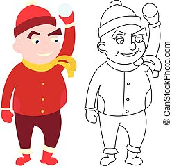 menino, pequeno, roupas inverno, estilo, isolado, experiência., branca, caricatura