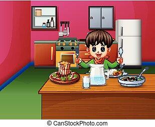 menino, pequeno, sentando, come, jantando tabela