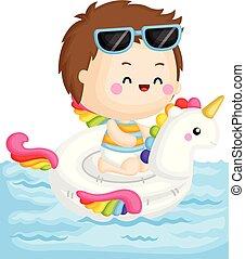 menino, pequeno, sentando, topo, flutuador, vetorial, cute, unicórnio, piscina
