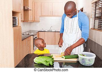 menino, pequeno, seu, cozinhar, pai, africano, cozinha