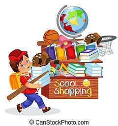 menino, pequeno, shopping, escola