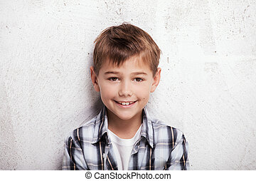 menino, pequeno, studio., retrato