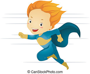 menino, pequeno, superhero, rapidamente, executando, criança