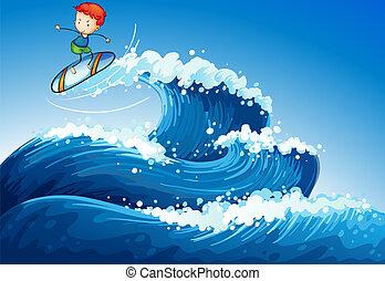 menino, pequeno, surfando, mar