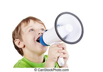 menino, pequeno, t-shirt, verde, algo, gritos, megafone