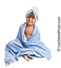 menino, pequeno, toalha, isolado, fundo, branca