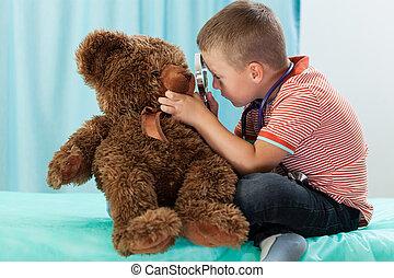 menino, pequeno, tocando, doutor