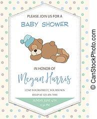 menino, pequeno, urso teddy, chuveiro, delicado, bebê, cartão